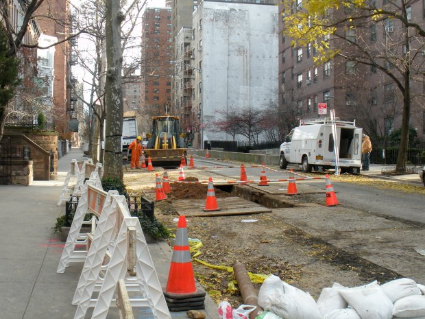 An unbelievable amount of time and work to lay one stretch of pipe. Gas lines, people--NO, they can't work any faster.