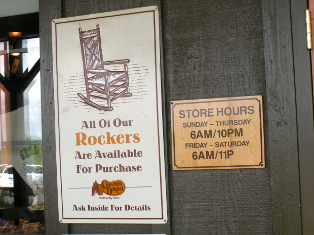 Cracker Barrel, road food extraordinaire.  Rockers on every front porch, all for sitting and for sale.