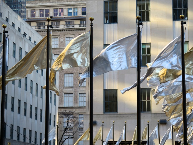 Flags around the rink at Rockefeller Center, 2013