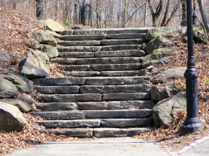 The northern end of the park gets steeper, more hills and stairs to navigate.
