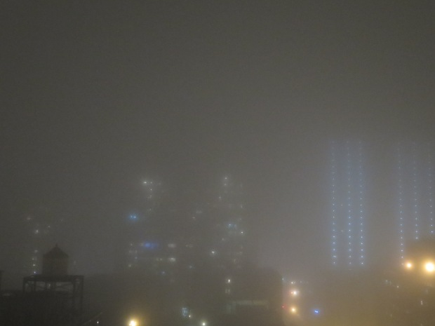 Three nights ago, unusually foggy.