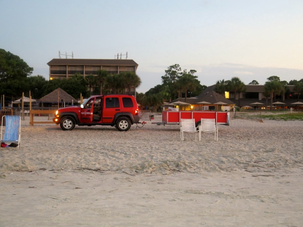 Beach patrol, out every morning at sunrise to pick up trash left behind and blown in.